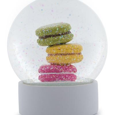Colourful macarons macaroon snow globe