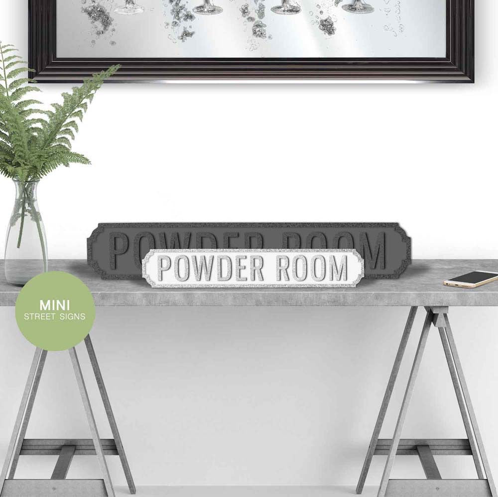 Powder room Wooden street road sign