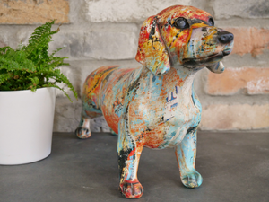Colourful Paint splash sausage dog daschund Ornament