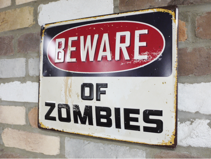 beware of zombies metal signs
