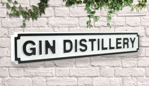 Gin distillery Vintage style wooden street garden bar sign