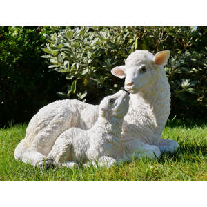mother and lamb sheep garden statue