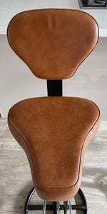 Brown Leather Bicycle saddle Bar Breakfast Stool with backrest