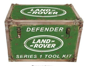 Land Rover strapped chest storage trunk