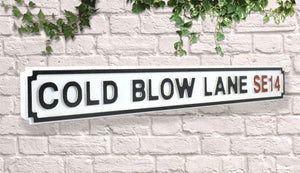 Quality vintage Wooden Road Sign - Millwall cold blow lane