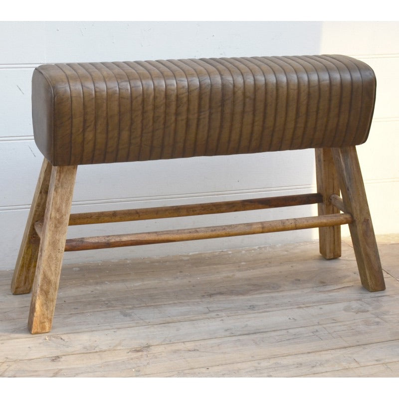 High Brown leather pommel horse style bench