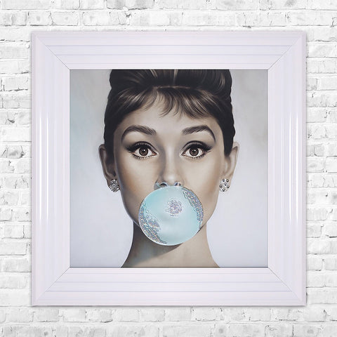 Audrey Hepburn Bubblegum liquid crystal Framed Artwork Picture