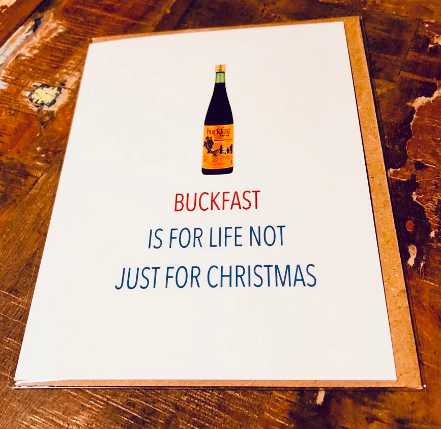 Buckfast wine Christmas Card - Egg & Beans Cards