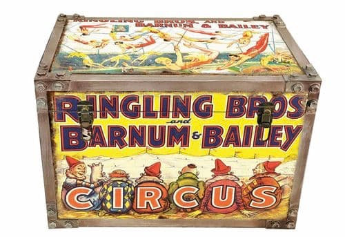 Barnum Circus strapped chest storage trunk
