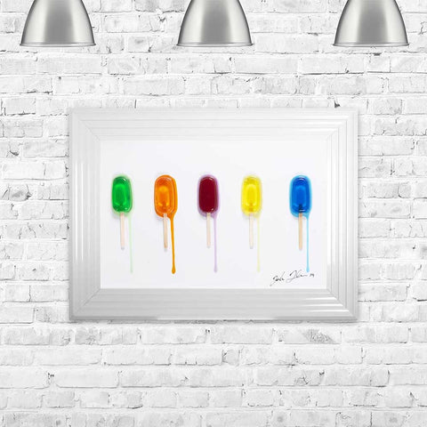 Jake Johnson Ice Lollies Wall Art Picture 55cx75cm