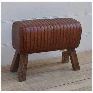 Brown leather pommel horse style bench