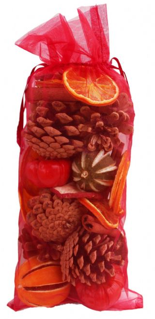 Jormaepourri Christmas Cone and Fruit Large Organza bag