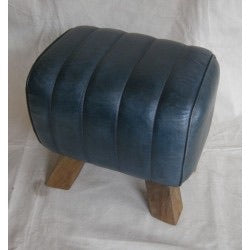 Leather Stool - Blue Mini Pommel Horse Style