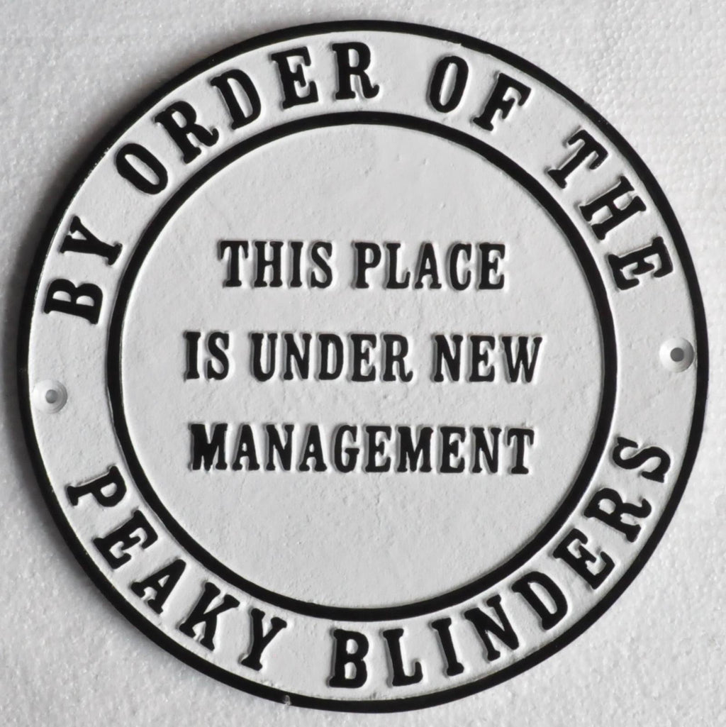 peaky blinders cast iron management bar sign