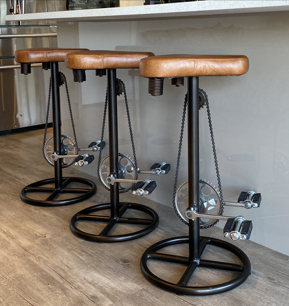 Brown Leather Bicycle saddle Bar Stool