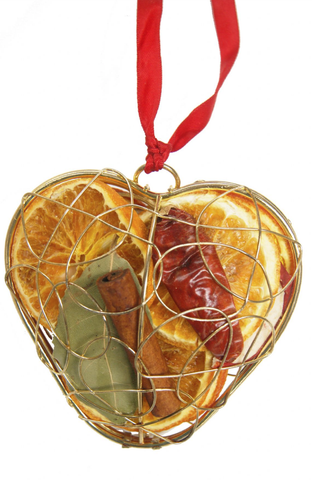 christmas hanging heart cage jormaepourri scented fruit gold