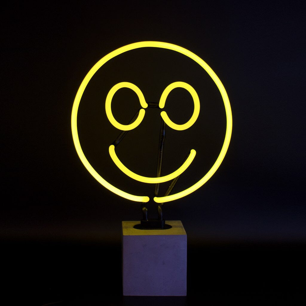 Large Smiley Neon Table Lamp