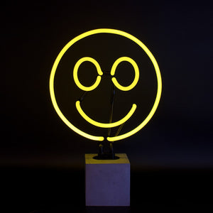 smiley face neon light desk lamp