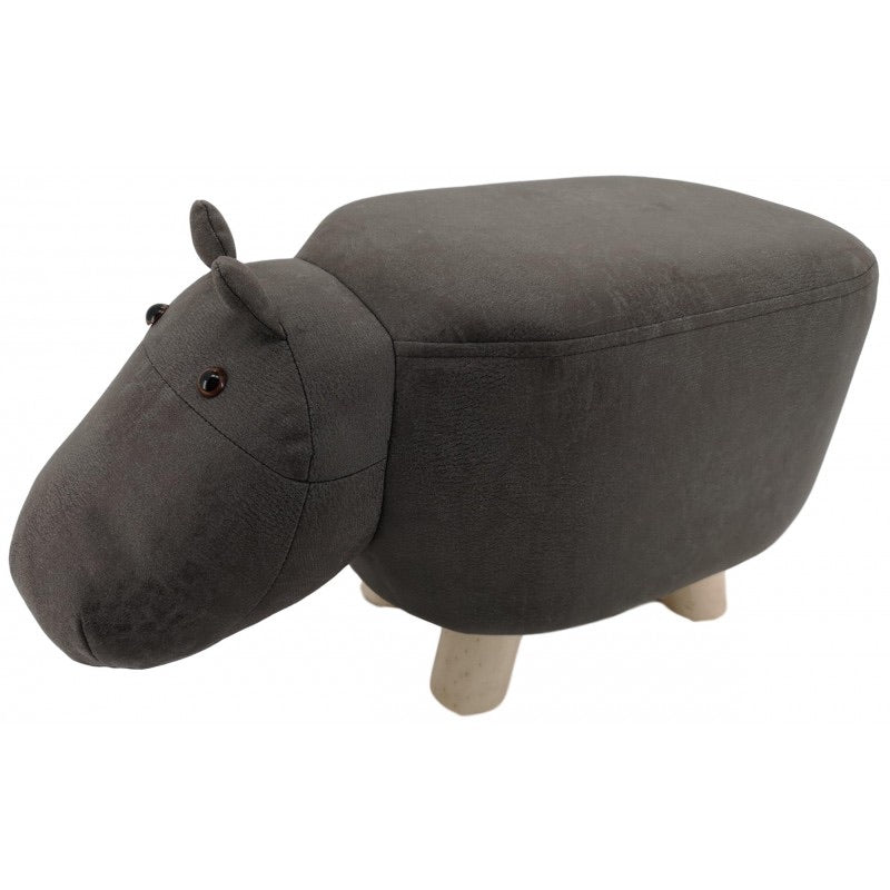 suede animal mini footstool - grey hippo