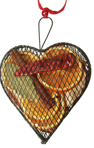 Metal mesh hanging heart fruit decoration