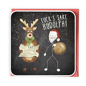 Fucks sake rudolf Christmas Card