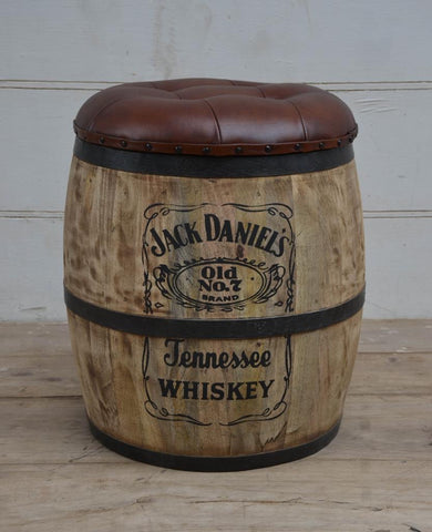 Jack Daniels wood and leather stool/storage barrel
