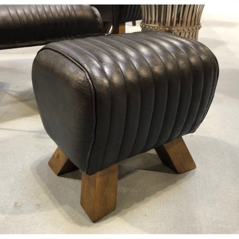 Leather Stool - Black Mini Pommel Horse Style