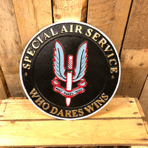 SAS Who Dares Wins heavy cast iron sign