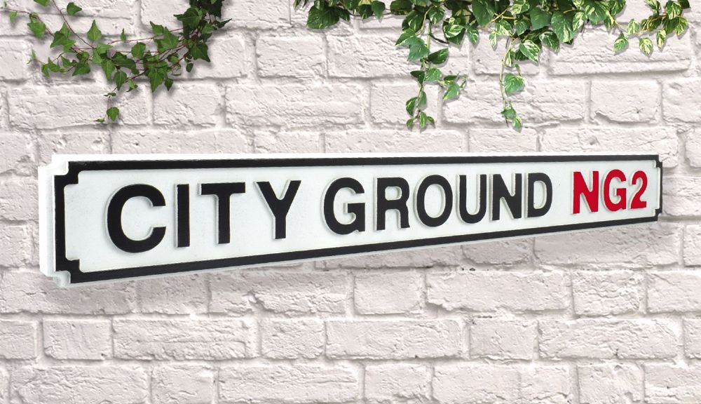 Quality vintage Wooden Road Sign - City ground Nottingham forest