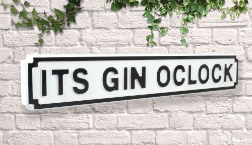 It's gin o clock Vintage style wooden street garden bar sign