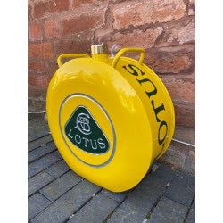 Lotus vintage style hand painted aluminium oil can