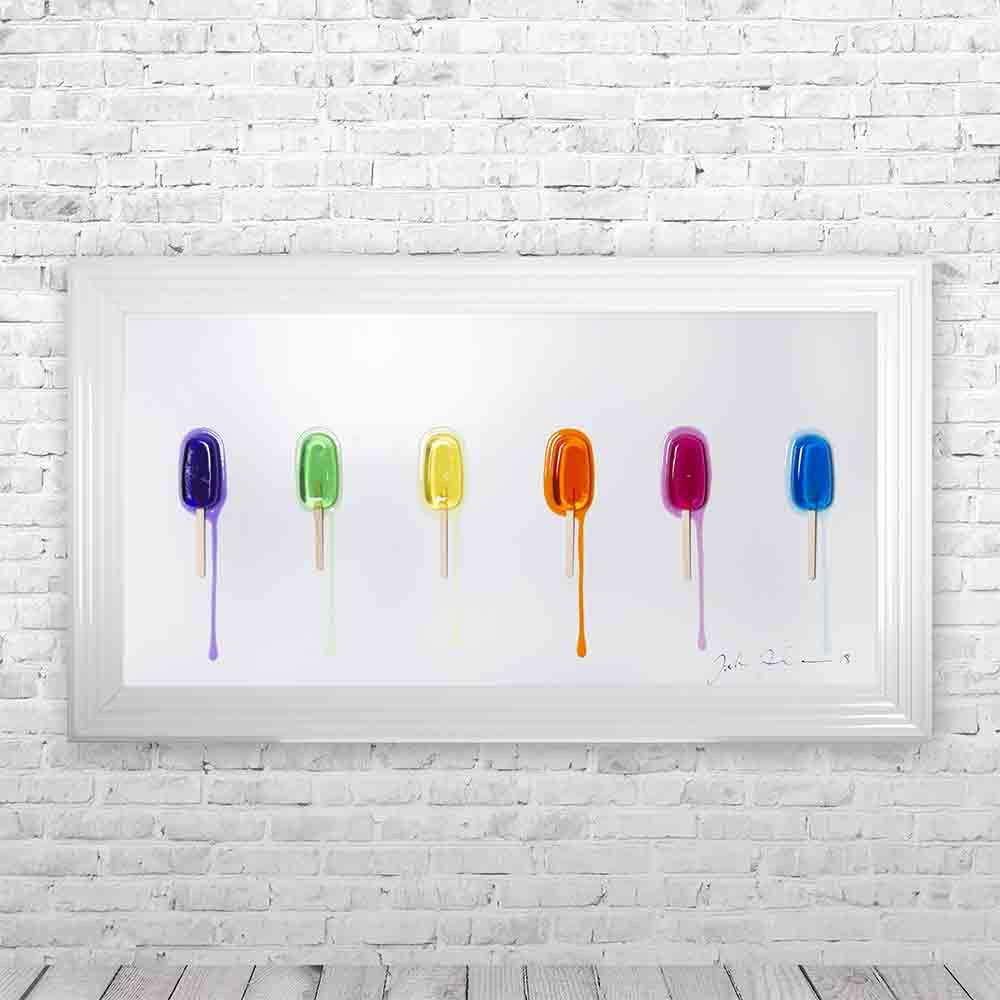 Jake Johnson Ice Lollies Framed Artwork Picture - White Background 114x64