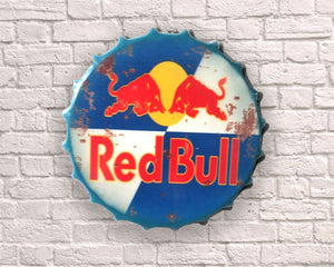 red bull giant metal hanging bottle top