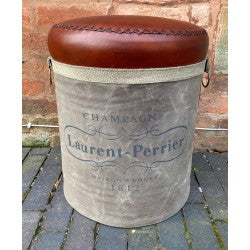 Laurent Perrier Leather and Canvas barrel Stool seating