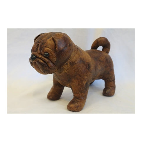 Faux Leather Standing Pug Dog