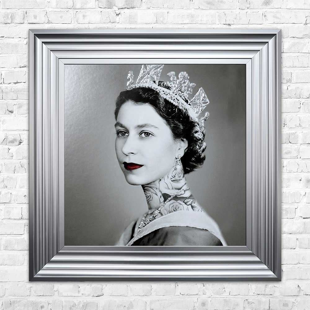 Swarovski Crystals Queen Elizabeth Liquid Art Tattoos Biggon Silver Framed Print Artwork Picture