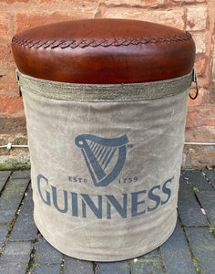 Guinness Leather and Canvas barrel Stool seating
