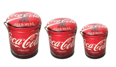 Coca Cola storage stool / tub / barrel