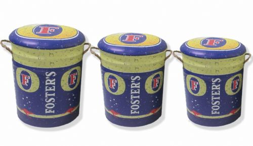 fosters lager storage stool barrel