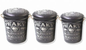 Peaky Blinders Skull & Razor storage stool / tub / barrel seating