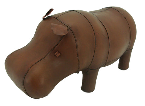 Small Leather Foot Stool - Hippo