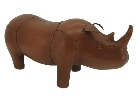 Small Leather Foot Stool - Rhino