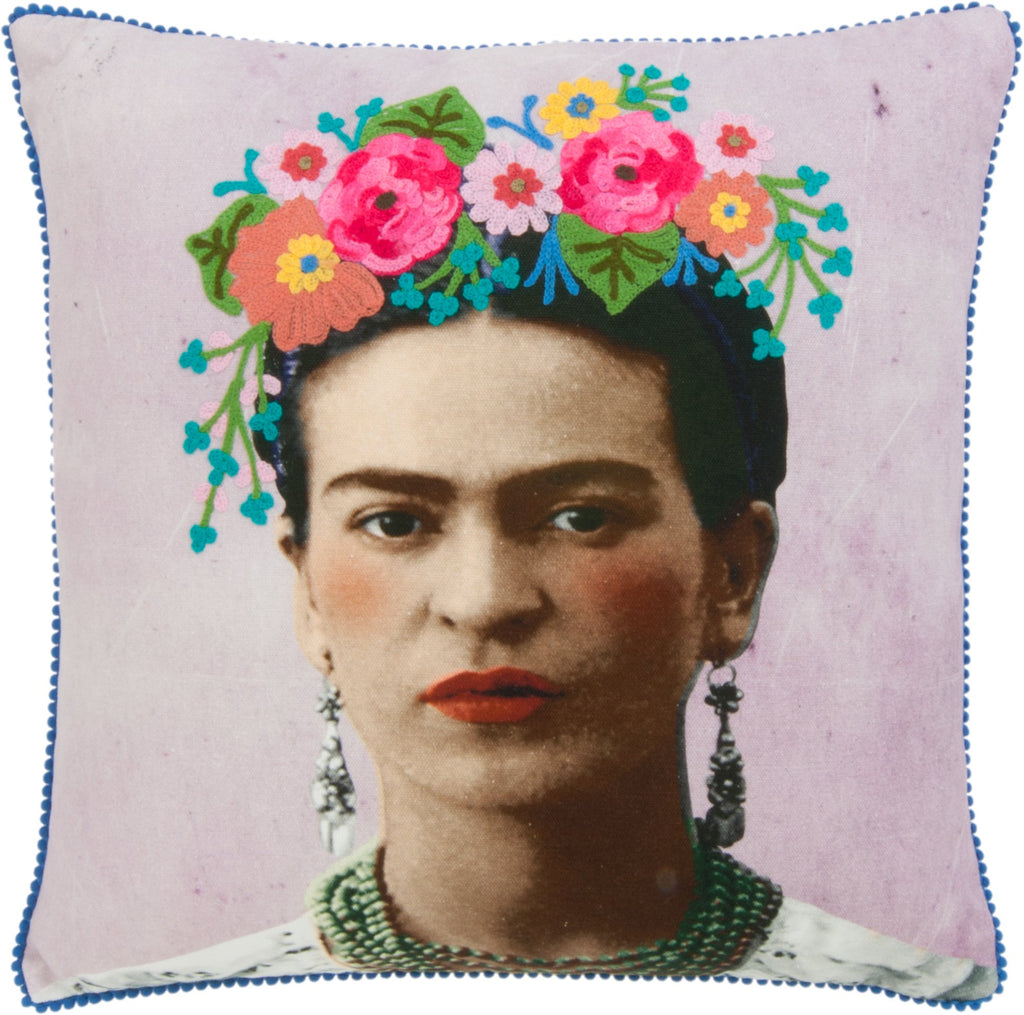 Frida Kahlo mauve Filled Cushion- Fair-Trade