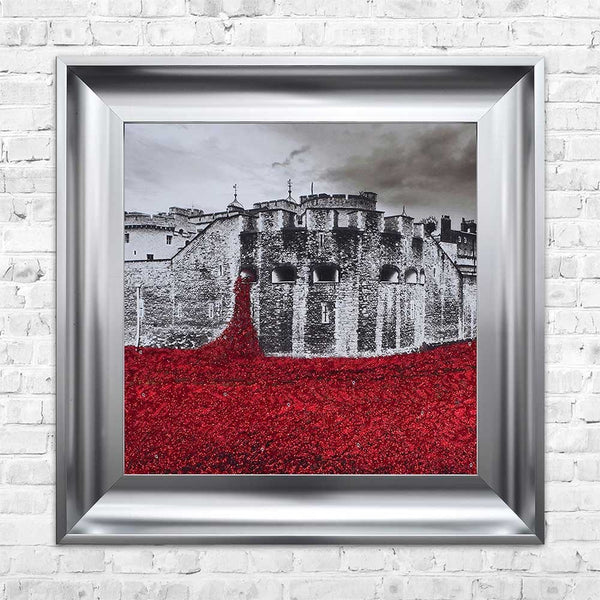 Tower of London handmade poppy fields framed art