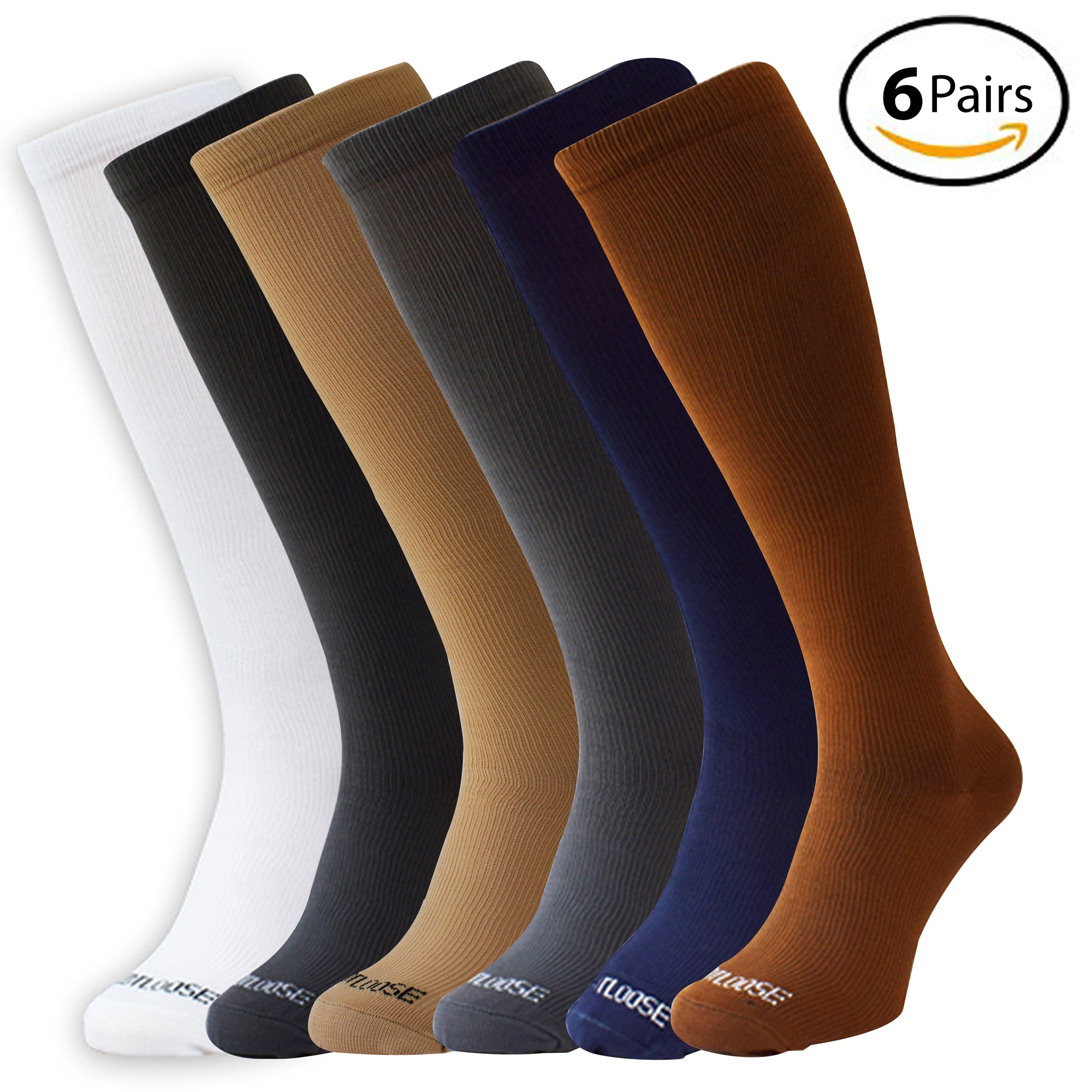 9a5162993 Knee High Compression Socks 6-pairs - FootLooseStore