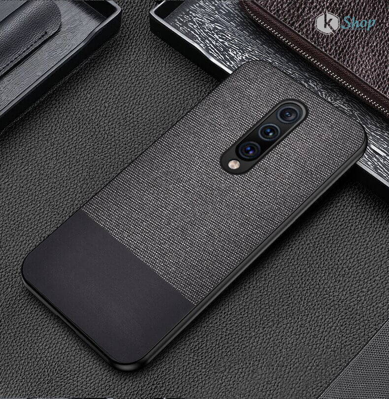 Canvas Fabric Cover - OnePlus 7 Pro ( Black ) - Mobilegadgets360