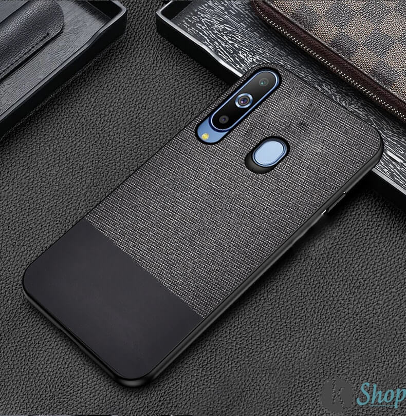 Black Canvas Fabric Cover - Samsung M40 - Mobilegadgets360