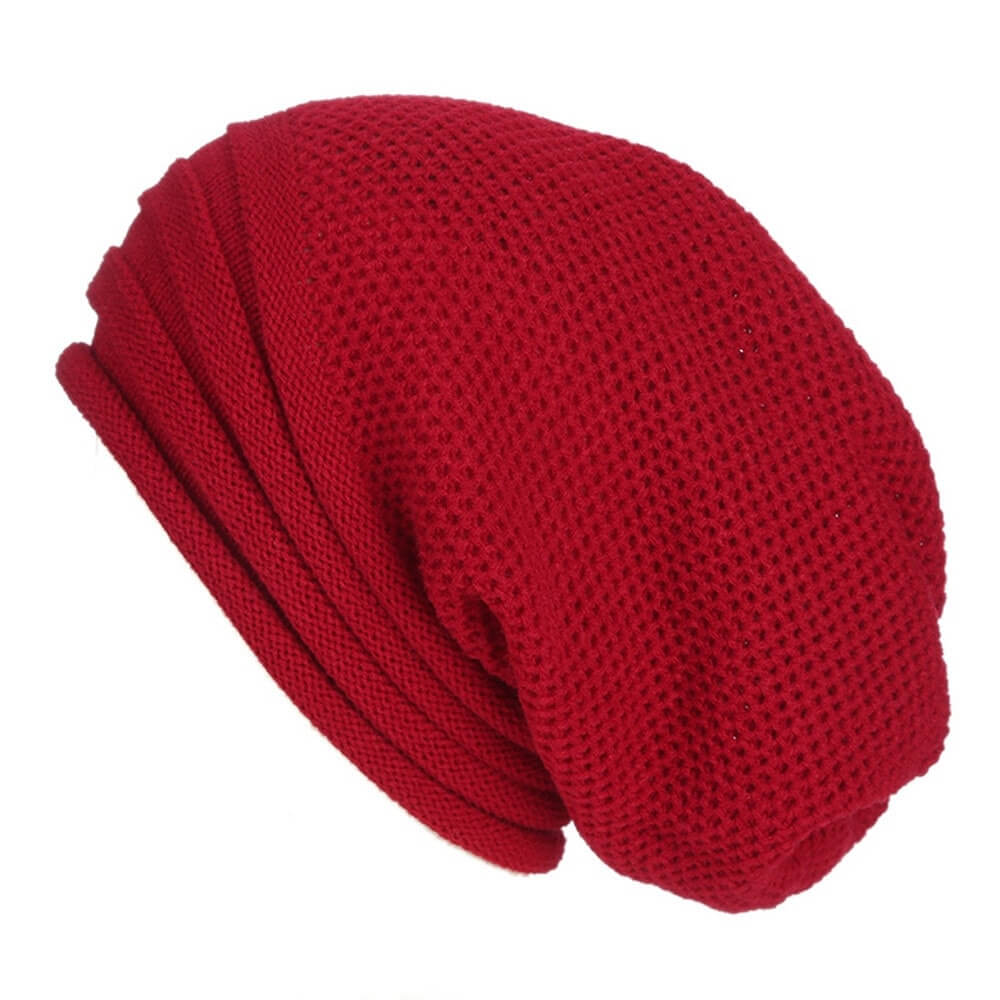 Carmine Red Baggy Slouchy - Beanie Cap - Mobilegadgets360