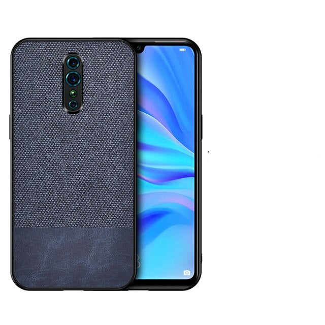 Blue Canvas Fabric Cover - OPPO Reno Z - Mobilegadgets360