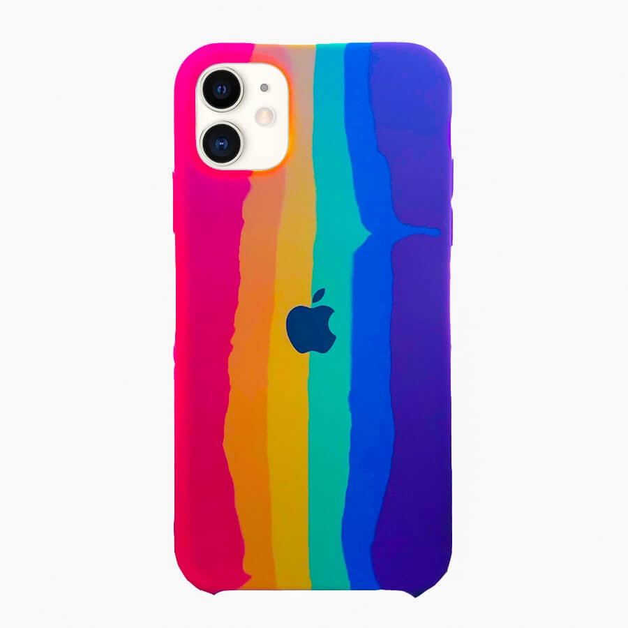 iPhone 11 Silicone Rainbow Case - Multi